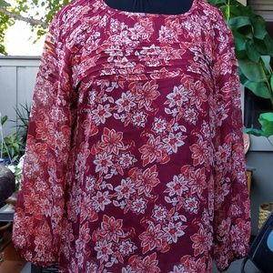 Sundance silk blouse long sleeve red/or floral L